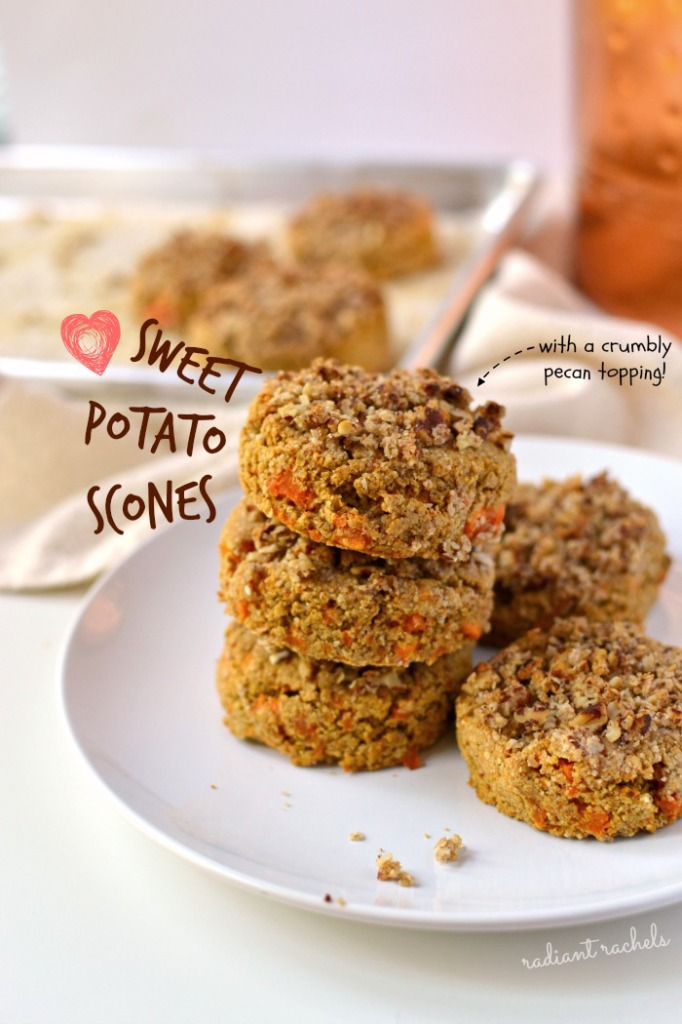 Pecan Crumble-topped Sweet Potato Scones - Radiant Rachels