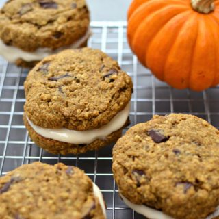 Pumpkin Oatmeal Cookie Sandwiches with Vegan Cream Cheese Frosting