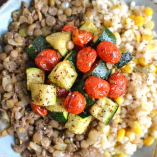 Easy Israeli Couscous with Lentils and Roasted Vegetables