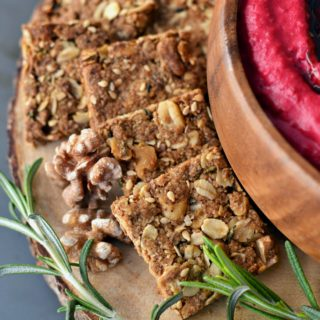 Kimmy's Oat Crackers with Balsamic Beet Hummus