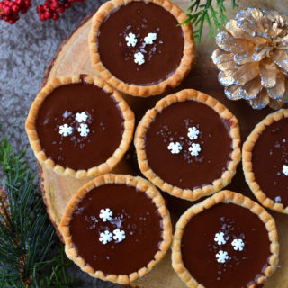 Vegan Salted Caramel Chocolate Tarts with Bailey's