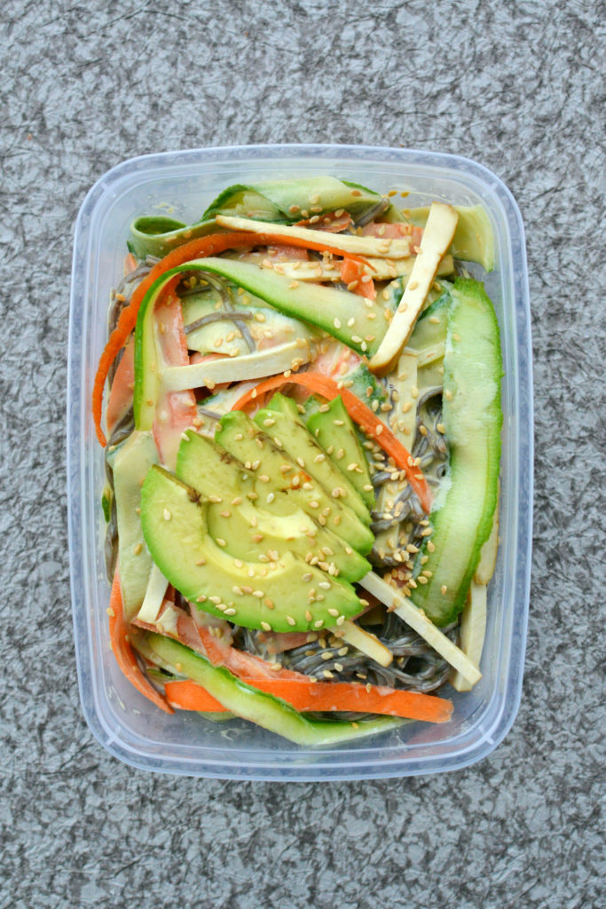 vegan miso tahini soba noodles with cucumber carrot avocado