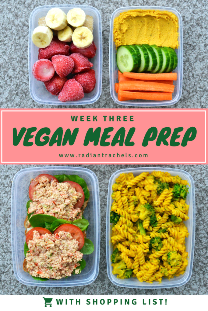 colorful vegan meal prep ideas with shopping list