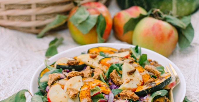 Early Autumn Salad with Homemade Cracker Croutons